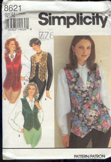 Simplicity Sewing Pattern 8621 Vests, four variations, Sizes 16-20