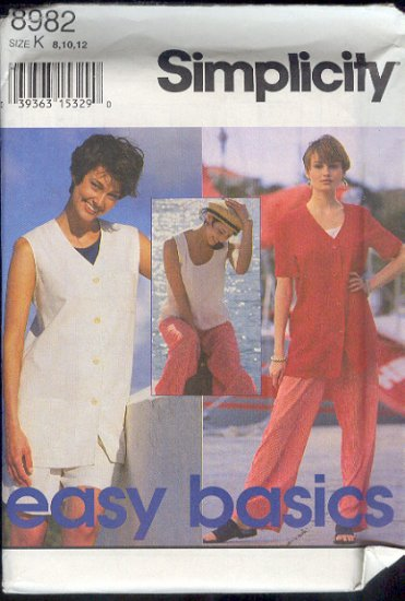 Simplicity Sewing Pattern,  8982 Vest, Jacket, top, shorts and pants, Size 8 10 12