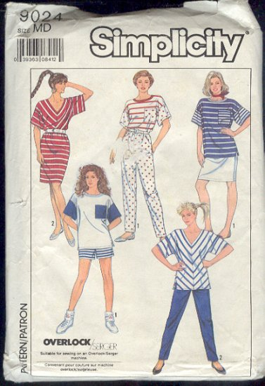 Simplicity Sewing Pattern 9024 Top, Pant, Shorts and Skirt, Size 14-16 Overlock