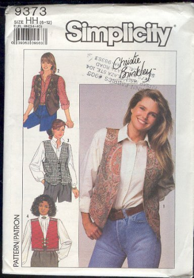 Simplicity Sewing Pattern 9373 Christie Brinkley, Four Vests, Sizes 8 - 12
