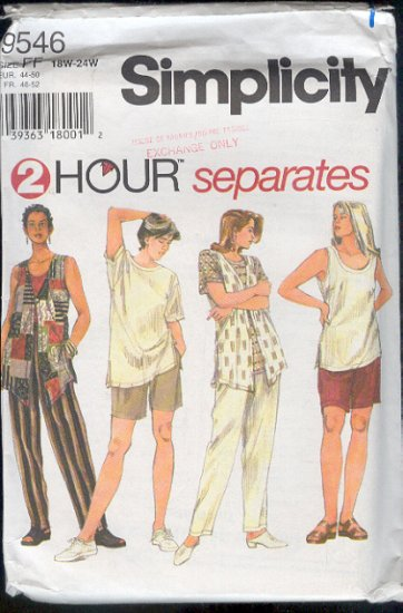 Simplicity Sewing Pattern 9546 Three Tops, Pants and Shorts, Size 18W - 24W