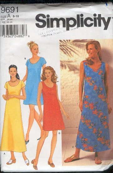 Simplicity Sewing Pattern 9691 Dress for Summer with four variations, Sizes 8 - 18