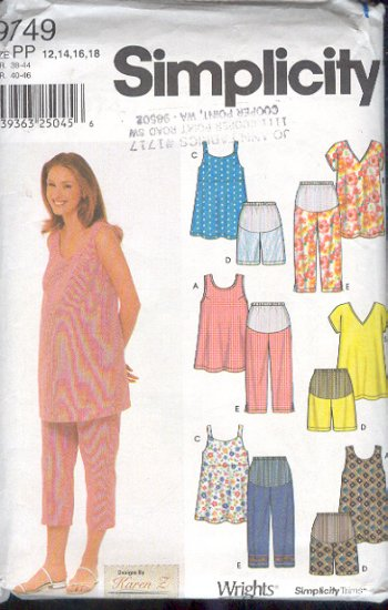 Simplicity Sewing Pattern, Maternity Wardrobe, Size 4 - 10