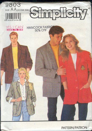 "Simplicity Sewing Pattern 9803 Classic Jacket for Men and Women, Size 28 -36"" chest"