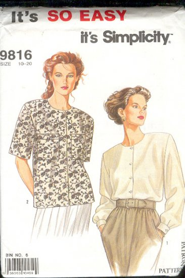 Simplicity Sewing Pattern 9816 Two Blouses, SIze 10 - 20