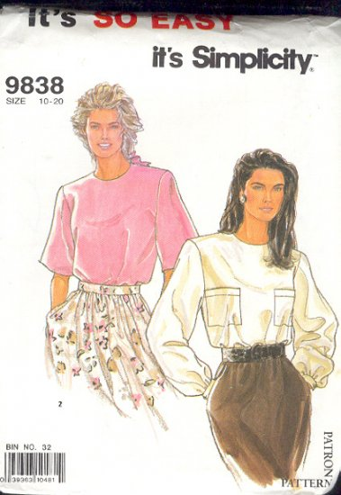 Simplicity Sewing Pattern 9838 Two Blouses, Sizes 10 - 20