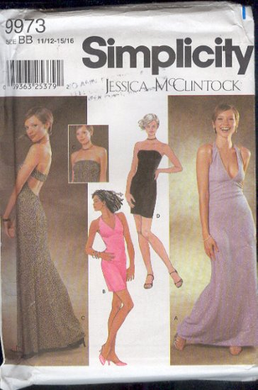 Simplicity Sewing Pattern 9973 Formal, Prom Dress, by Jessica McClintock, Sizes 11 -  16