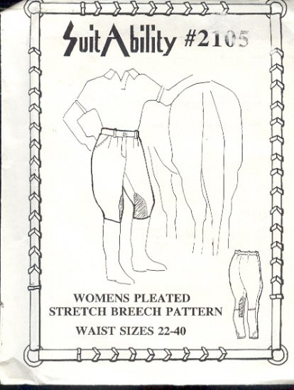 Sewing Pattern SuitAbility 2105 Stretch riding breech, Jodpurs Sizes 22 -40 waist