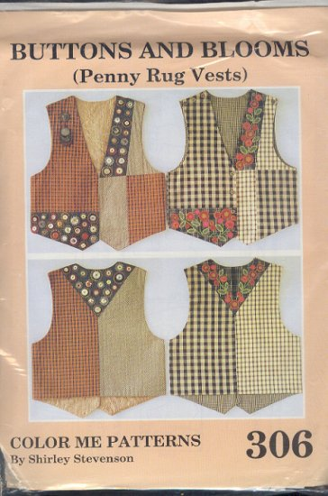 Sewing Pattern by Shirley Stevenson306, Buttons and Blooms Penny Rug Vests XS - XXL