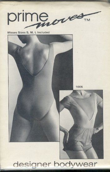 Sewing Pattern Prime Moves, 1006 V neck leotard, T shirt and shorts, Sizes S M L