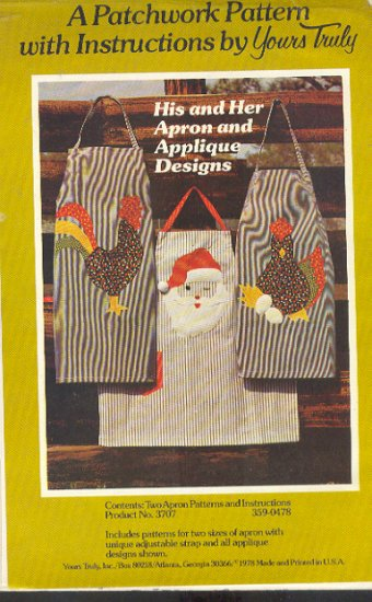 Sewing Pattern Yours Truly, His and her apron with applique designs chickens and Santa, One size