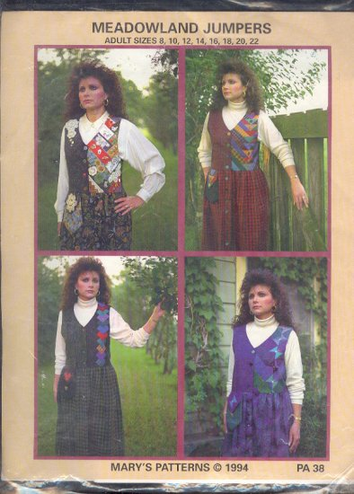 Sewing Pattern Mary's Patterns, Meadowland Jumpers, patchwork, Sizes  8 - 22