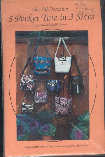 "Sewing Pattern, by Charlene Casson, Five pocket totes in three sizes, 10"" 11"" 12"""