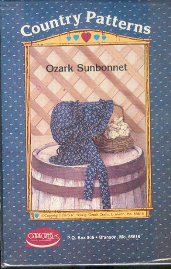 Sewing Pattern, Country, Ozard Sunbonnet, One Size
