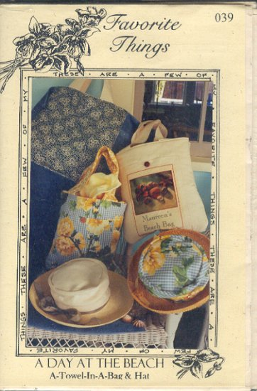 Sewing Pattern, Favorite Things 039, Beach Tote and Hat