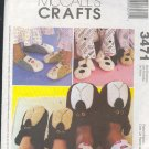 McCall's Sewing Pattern 3471, Adult and Kid slippers, five designs, SX to XL