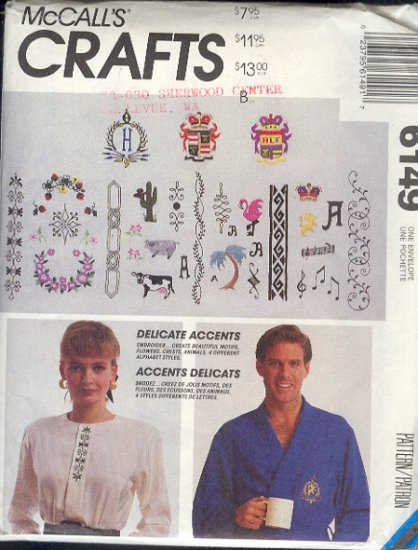McCall's Sewing Pattern 6149, Embroidery and Monagram designs, One size