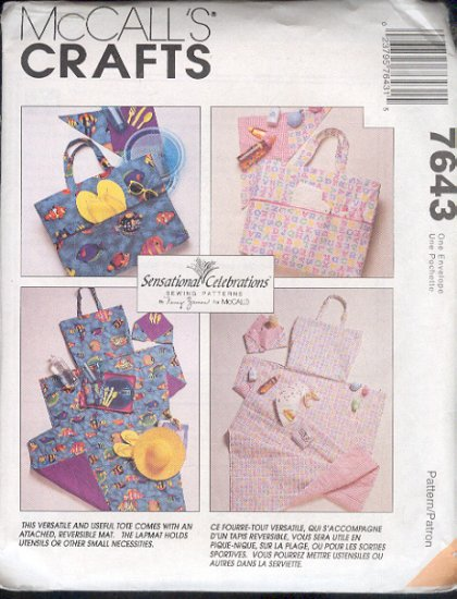 McCall's Sewing Pattern 7643, Versatile Tote with accesssories, One Size