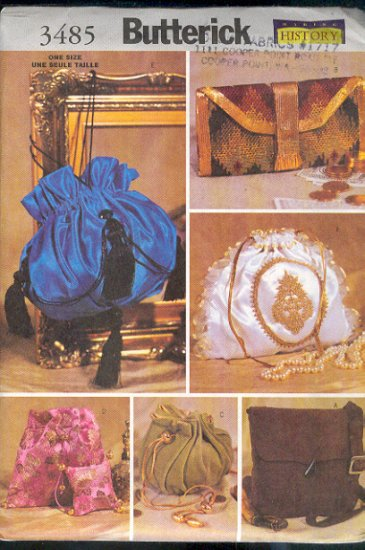 Butterick Sewing Pattern 3485. Copies of historical bags. clutches and Purses, One Size