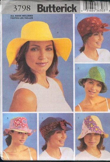 Butterick Sewing Pattern 3798, Six Hats, All sizes included
