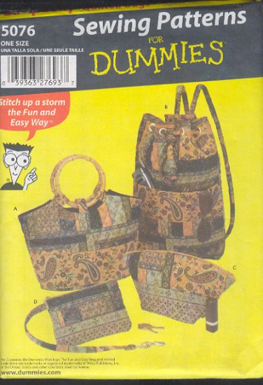 Simplicity Sewing Pattern 6076, Four purses, four styles, One Size each