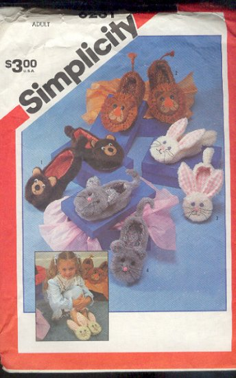 Simplicity Sewing Pattern 6231 Slippers in 4 styles for Adults (kids not included)