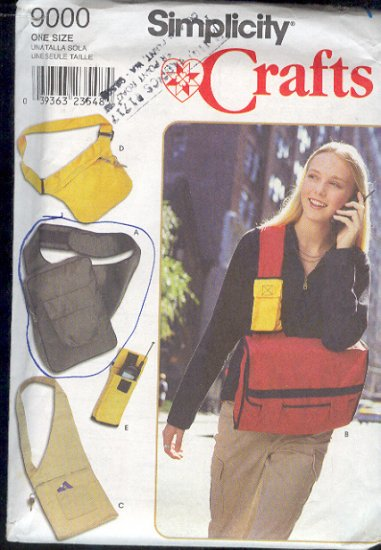 Simplicity Sewing Pattern, Three bags and cell phone holder, good for travel, One size each.