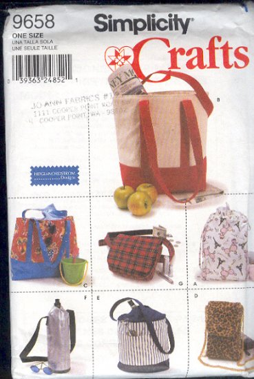 Simplicity Sewing Pattern, 9658, Seven Utility bags, Good instruction, One size for each