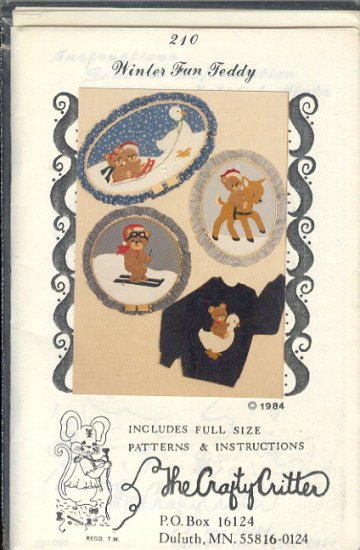 Sewing Pattern, Crafty Critter 210, Teddybear, Skier and Goose hoops, 12 - 20 inches