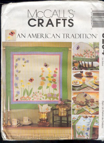 McCall's sewing Pattern 3204 Wall Quilt, Runner, Mats, Napkins, Cozy and Chair cushions, one size