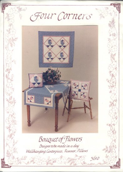 "Sewing Pattern, Four Corners 3610, Four Corners, Hangins (31"") runner, center piece, pillow"