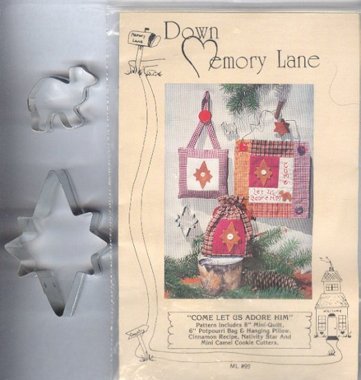 Sewing Pattern, Down Memory Lane, Come Let Us Adore Him, Includes two cookie cutters