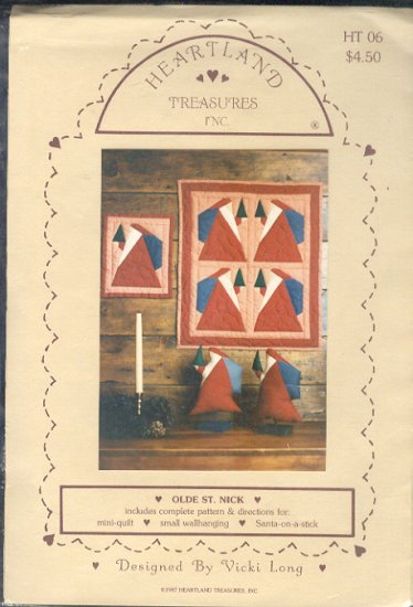 Sewing Pattern, Heartland Treasurers Inc Old St.Nick, mini quilt, wall hanging  santa on a stick.