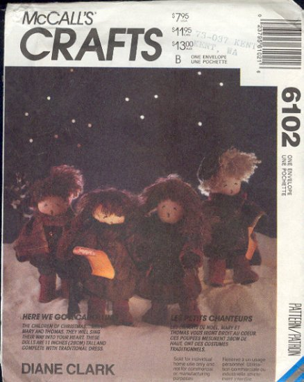 McCall Sewing Pattern 6102 Carolers, ll inches tall, traditional clothes.
