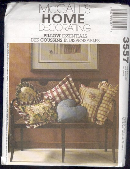 McCall's Sewing Pattern 3557 , Assorted Throw Pillows, 8 versions