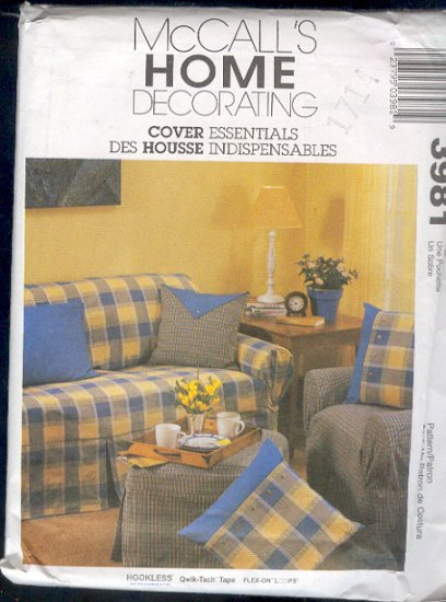 McCall's Sewing Pattern 3981 Cover Essentials, Slip Covers, Adjustable