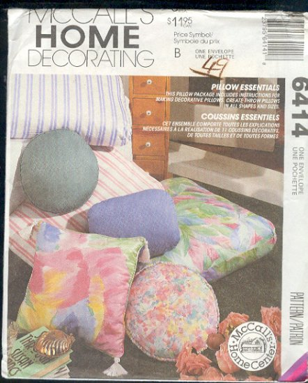 McCall's Sewing Pattern 6414, Pillows and Cushions, 15 styles,