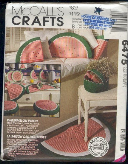 McCall's Sewing Pattern, 6475 Watermellon Accessories