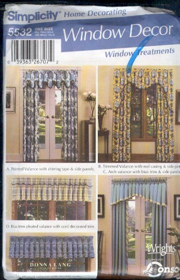 Simplicity Sewing Pattern 5532 Window Treatments, 5 options