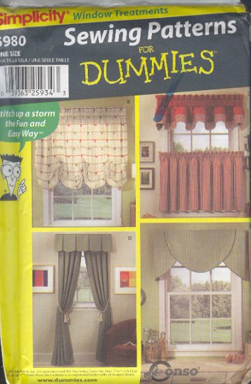 Simplicity Sewing Pattern 5980, Window Treatments, Five Options