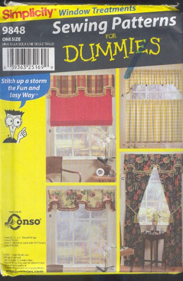 Simplicity Sewing Pattern 9848, Window Treatments, 5 options