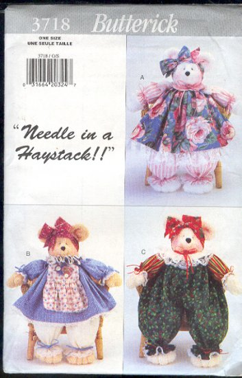 "Butterick Sewing Pattern 3718, 18"" Pammy Bear and clothes, One Size"