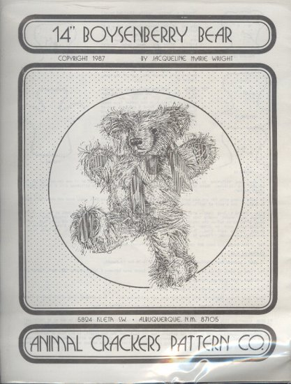 "Sewing Pattern, Animal Crackers, 14"" Boysenberry Bear"