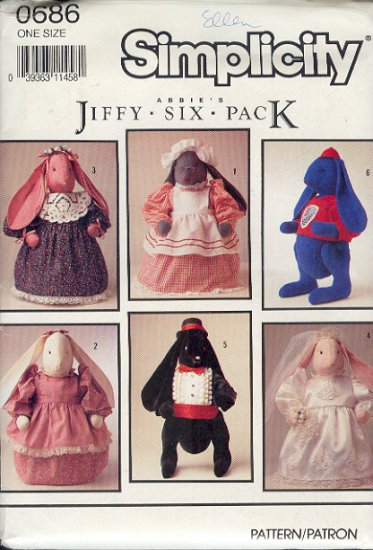 """Simplicity Sewing Pattern 0686, Six Bunnies 23"""" and all the Bunny Rabbit clothes"""