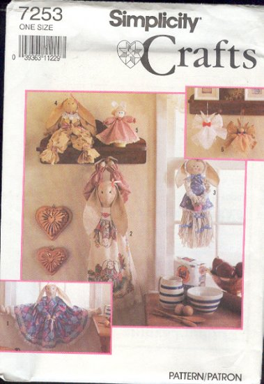 Simplicity Sewing Pattern, 7253, Door Draft Stopper Bunny, Bag Bunny, Doll and Ornaments 11 - 34""