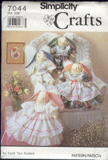 """Simplicity Sewing Pattern 7044 Angel Bunny Rabbit, 22"""" with clothes"""