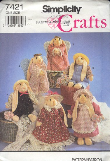 """Simplicity Sewing Pattern 7421 10"""" Bunny Rabbit and all the clothes"""