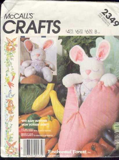 McCall's Sewing Pattern 2349, Bunny Rabbit and Carrot Bunting, 10""