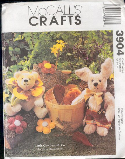 McCall's Sewing Pattern 3904 Little City Bears,  9 - 12 inch with flowers and carrots