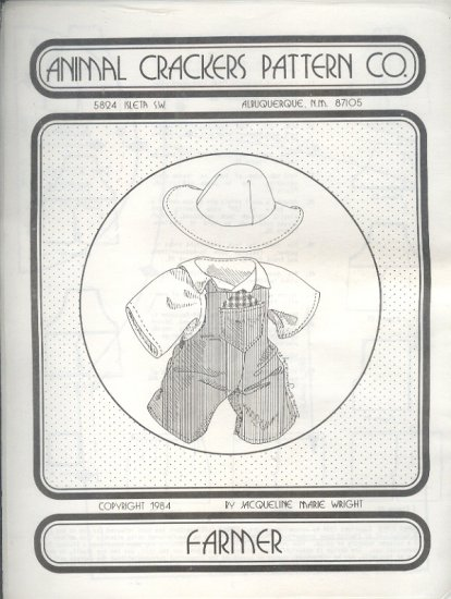 "Sewing Pattern, Animal Crackers, Farmer outfit for either a 16"" doll or bear,"
